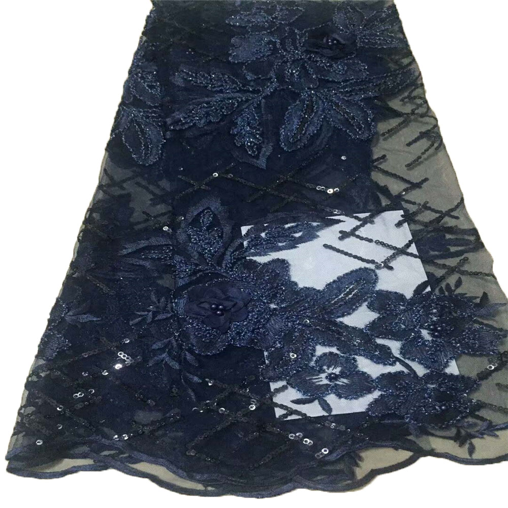 Modern 3d flowers beaded  Lace fabric with sequins  5 yards  African special  Lace Fabric with beads for fancy dress  A387-2