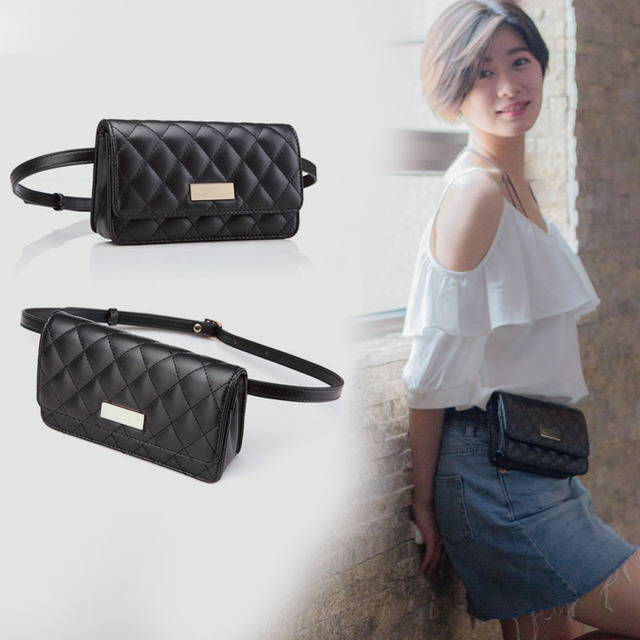 Fashion Women Waist Bags Classic Lattice Belt Bag High Quality PU Leather  Fanny Pack Cell Phone
