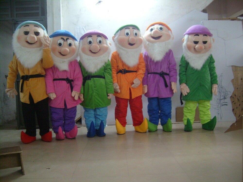 Семь drawf костюмы талисмана взрослого размера хэллоуин ну вечеринку маскарадный костюм для продажи на заказ 7 шт.