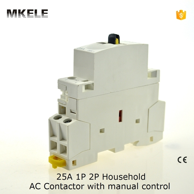 MKWCT-25M 2P 25A 220V/230V 50/60HZ Din rail Household ac contactor 2NO with manual control