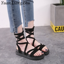 Summer Size 34-43 Women Flat Sandals 2018 New Women Ankle Strap Platform Sandals Cow suede Peep-toe Flat Roman Female Sandals ankle strap pu flat sandals