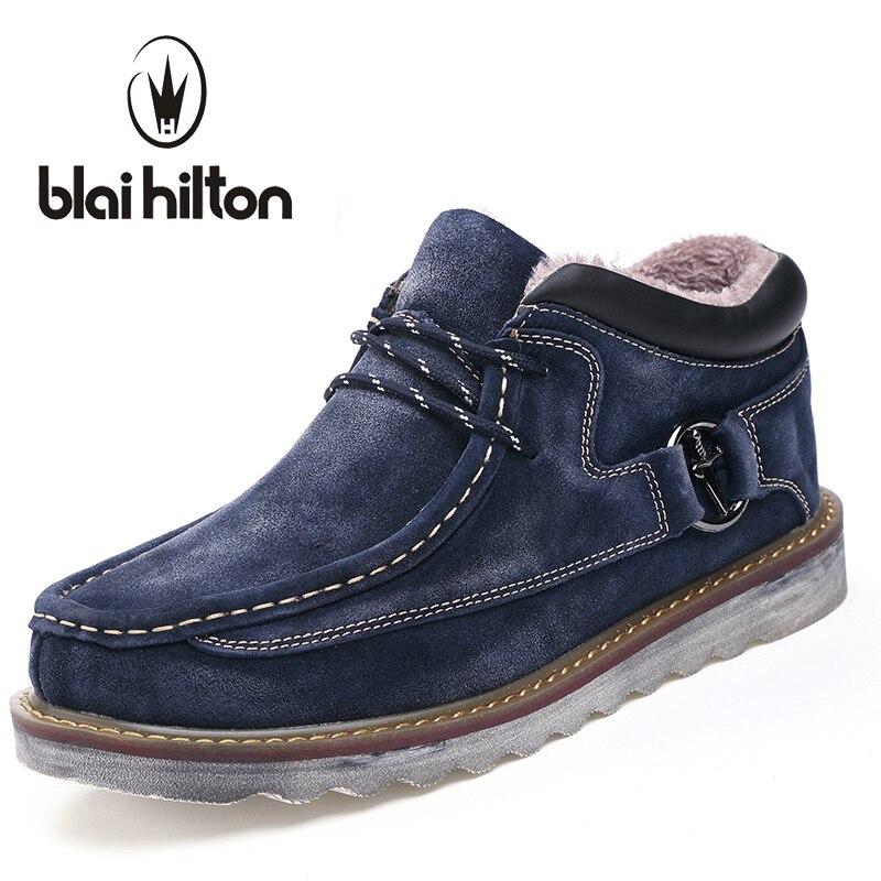 blaibilton Autumn Winter Genuine Leather Casual Snow Boots Men Shoes Warm Velvet Vintage Classic Male Ankle Boots Thick Sole