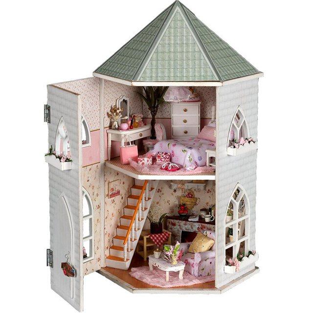 Amor Castelo De Madeira DIY Casa De Bonecas Em Miniatura Com Luz E Kits De Móveis Toy Presente Melhor Chirsmas Presente de Aniversário Brinquedo Para Crianças