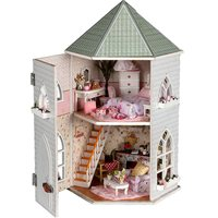 DIY Wooden Love Castle Dollhouse Miniature With Light And Furniture Kits Toy Gift Best Chirsmas Birthday Gift Toy For Children