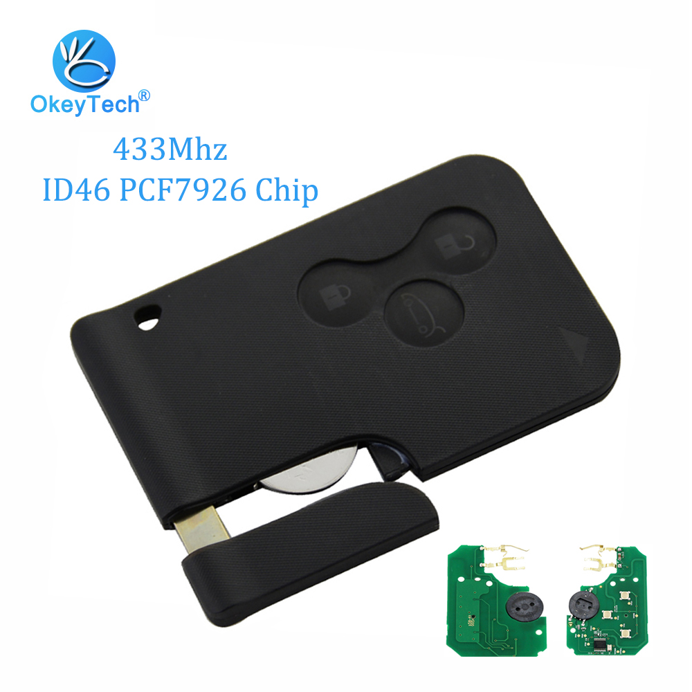 OkeyTech 3 Taste 433 Mhz ID46 PCF7926 Chip mit Not Insert Klinge Smart-Remote Key Für Renault Megane Scenic 2003-2008 karte