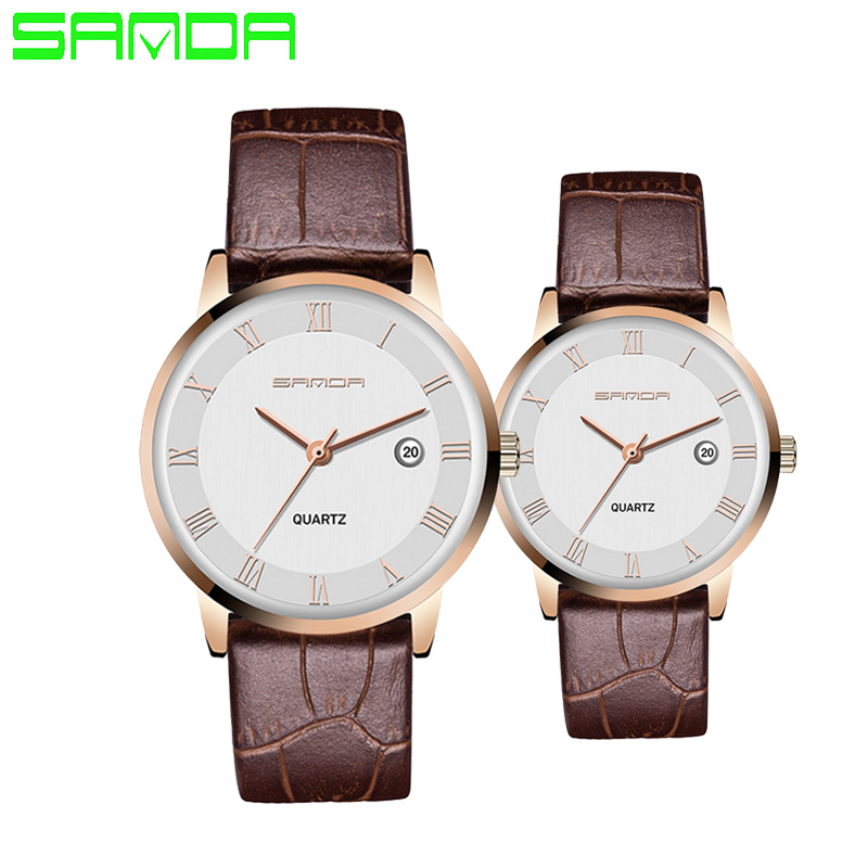 SANDA Brand Women Men Quartz Watches lovers Clock Gold Fashion Casual Watch leather wristwatches relogio feminino Hot new fashion brand gold geneva casual quartz watch women crystal silicone watches relogio feminino dress ladies wristwatches hot