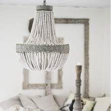 Vintage rustic round wooden beads pendant lamp E27 led hanging lamp decor for home hotel kitchen