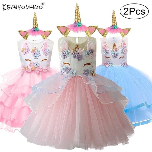4653c38da3 2019 wielkanoc dziewczyny sukienka 2 sztuk dla dzieci sukienki dla  dziewczynek jednorożec sukienka na imprezę maluch