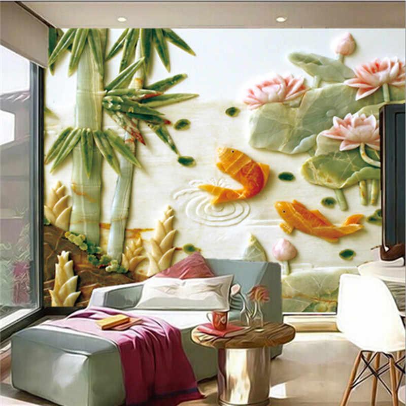 ที่กำหนดเอง3Dสเตอริโอหยกภาพจิตรกรรมฝาผนัง, สไตล์จีนปลาทองโลตัสรูปแบบกระดาษde parede,ห้องนั่งเล่นโซฟาทีวีผนังห้องนอนวอลล์เปเปอร์