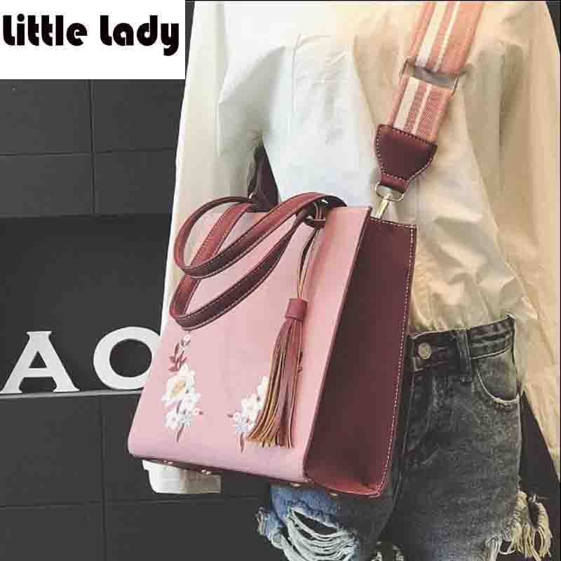 Vintage Womens Hand bag Embroidery Flower High Quality Soft Leather Women Messenger Bags Elegant bolsos mujer Flap Sac Female