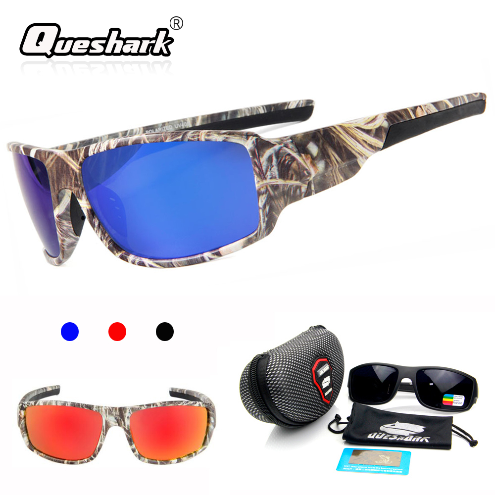 QUESHARK Polarized Camo Sunglasses Outdoor Camping Sports Cycling Glasses TR90 UV400 Fishing Goggles Fishing Eyewear стоимость