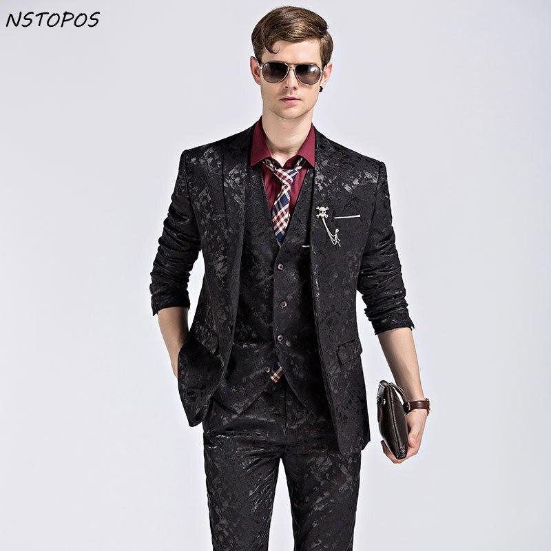 Black Blue Flower Suit Velvet Luxury 3XL Costume Homme Wedding Suit One Button Single Breast Fashion Design Groom Suit