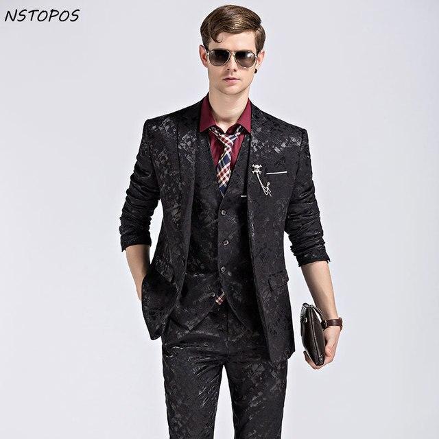 Populaire Noir Fleur Bleue Costume de Velours De Luxe 3XL Costume Homme  LS24