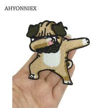 1 Piece Pug Dog Patches for Clothing Iron on Embroidered Sewing Applique Cute Sew On Fabric Badge DIY Apparel Accessories