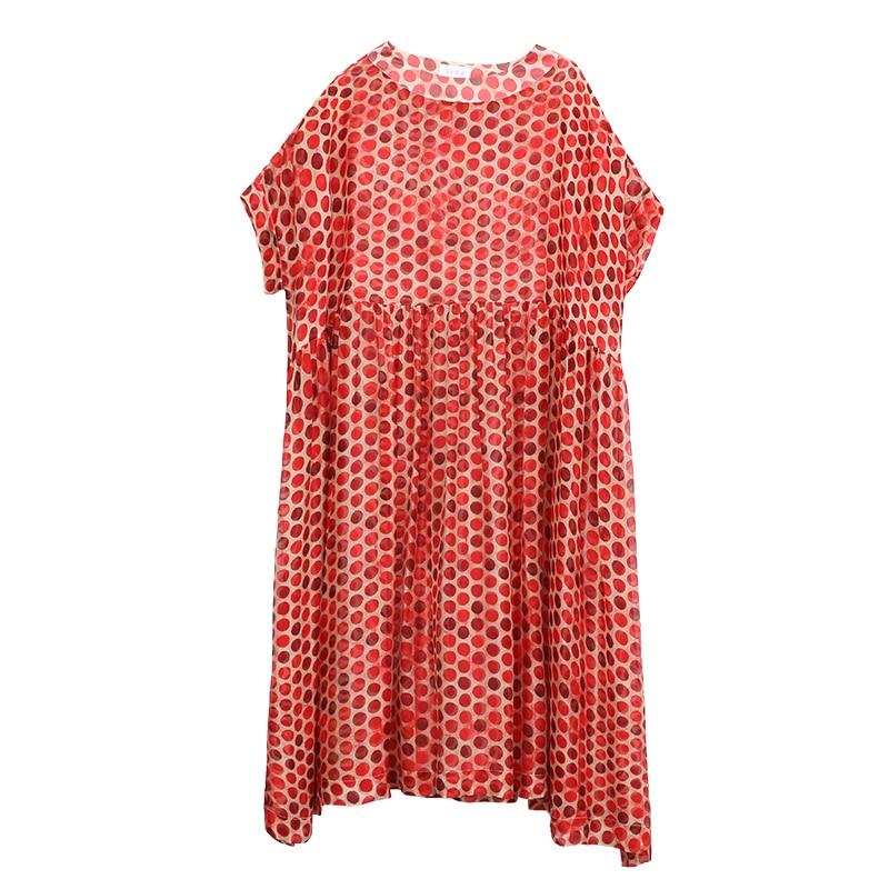 Arrivée Dot Robe Polka Casual Nouvelle Picture Conception Irinaw068 Originale 2018 D'été Femmes Oversize Soie Longue As P5wxv