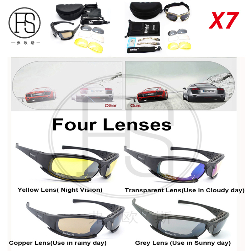 Tactical X7 C5 Goggle Glasses With 4 Lens Amry Sunglasses For Shooting War Game Use Polarized