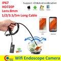 Wi-fi android iphone endoscópio câmera lente de 8mm 1 m 2 m 3.5 m 5 m à prova d' água cobra tubo da tubulação câmera endoscópio endoscópio 720 p iphone