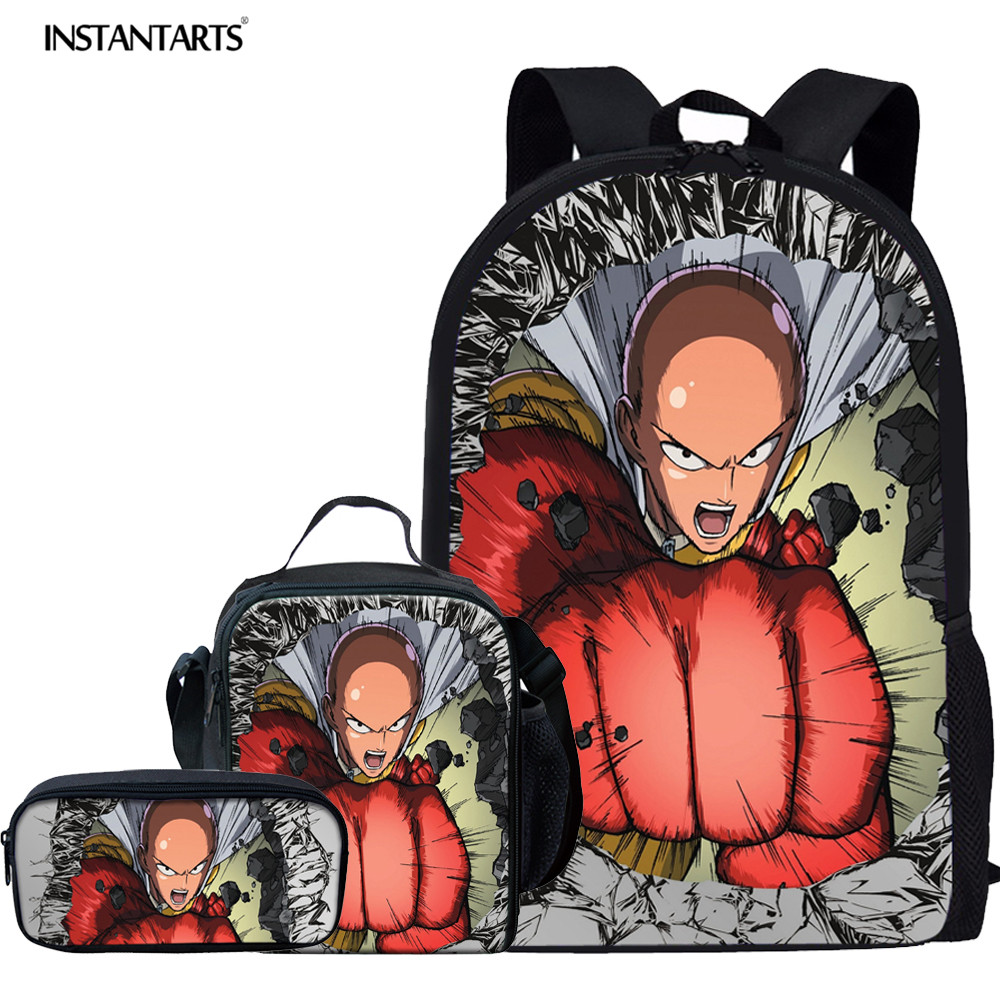 INSTANTARTS Children Backpack Teenager Boys Saitama School Bags Durable One Punch Man BookBags Primary Juniror Student Rucksack