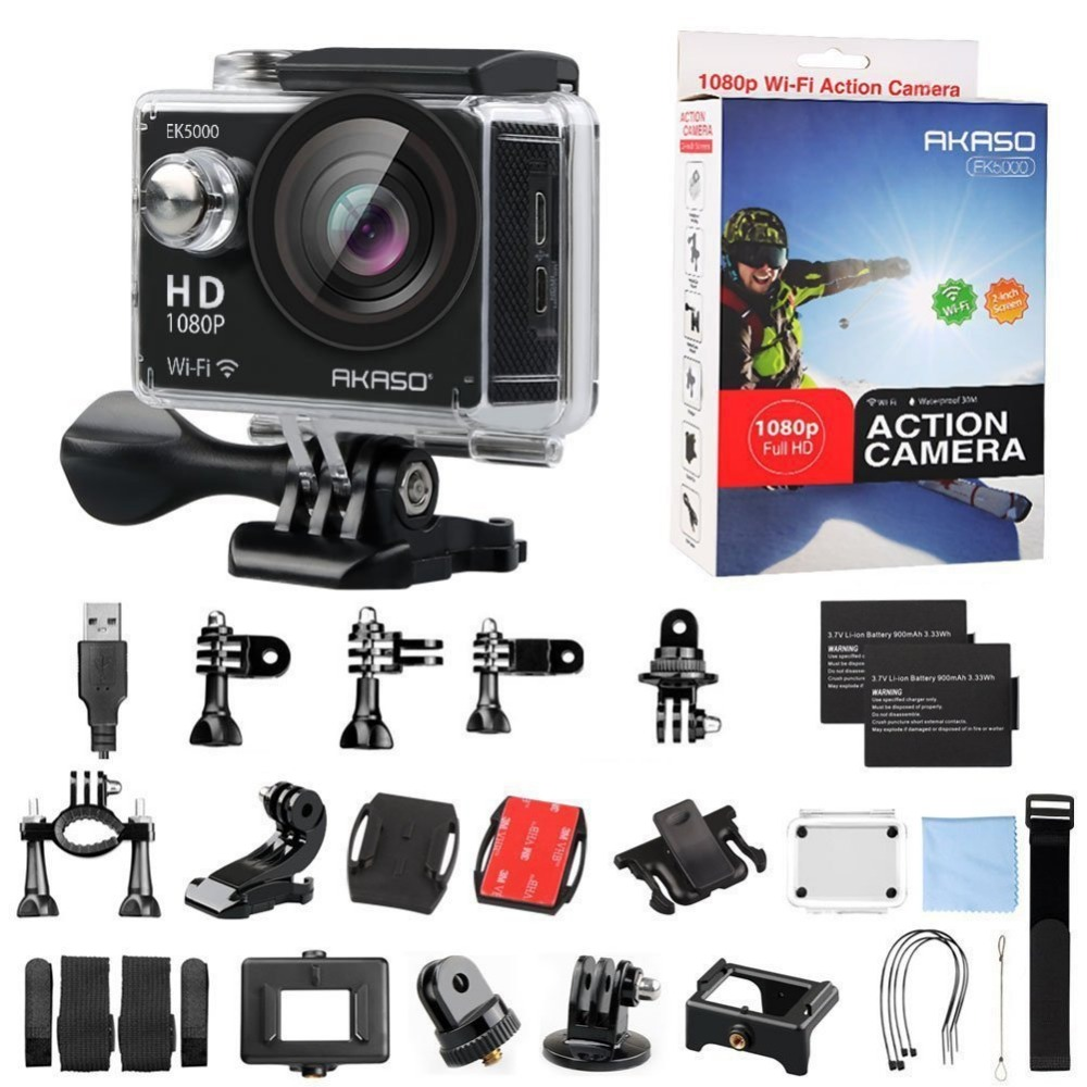 AKASO EK5000 WIFI Outdoor Action Camera Video Sports Camera wifi Ultra HD Waterproof DV 12MP 170 Degree Wide Angle + Accessories цена