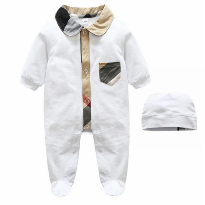 Newborn baby Plaid Romper with Hat Baby costume Little unisex Infant baby clothes Jumpsuits outfits cute animal infant baby girl boy clothes halloween christmas photography costume novelty jumpsuits overalls romper hat shoes
