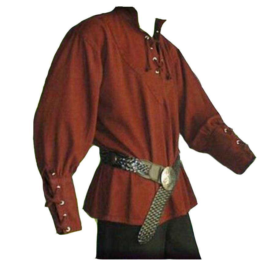 Size large 44 112cm chest. Men/'s lace-up green medieval costume shirt with collar