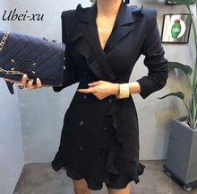 Ubei New flounced chiffon OL jacket dress temperament slim white/black suit