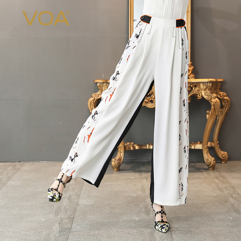 VOA Heavy Silk Office   Wide     Leg     Pants   White Women Long Trousers Casual High Waist Plus Size 5XL Loose Print Formal Summer K530