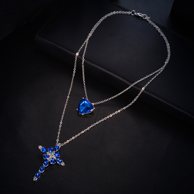 Multilayer Blue Crystal Heart Cross Pendant Necklace for Women Fashion Rhinestone Ocean Jewelry Choker Statement Valentine's Day 5
