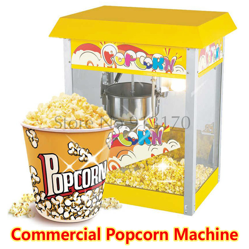 New Commercial Popcorn Maker Automatic Roof Topped Popcorn Machine Popper Machine 220V