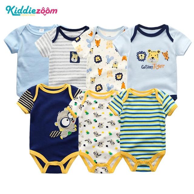 10db1f1b499a8 2019 7PCS/Lot Uniesx Summer Newborn Baby Rompers Infant Boy Jumpsuits 100%Cotton  Children Roupa bebe Girls&Boys Baby Boy Clothes