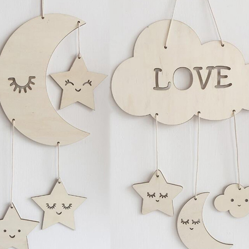 Sleeping Wooden Cloud and Raindrop Dream Catcher Hanging Plaque - Boys Nursery Decor Baby Mobile Star and Cloud Mobile