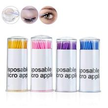 1000pcs/lot Durable Micro Disposable Eyelash Extension Makeup Brushes Individual Applicators Mascara Removing Tools Swabs цена в Москве и Питере