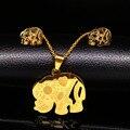 Elefante Indio Collares Pendiente de Acero Inoxidable Joyería de sistemas de Dubai Joyas de Oro Animal S67134 Jewlery Establece conjunto de joyas