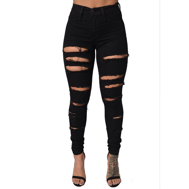 New Cotton High Elastic Imitate Pants Woman Knee Skinny Pencil Pants Slim Ripped Jeans For Women Black Ripped Jeans Plus size