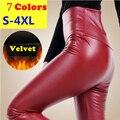 Осенью И Зимой Плюс Бархат PU Высокой Талии Брюки Женские мода Кожа Узкие Брюки Плюс Размер S-4XL Много Цветов Длинный брюки