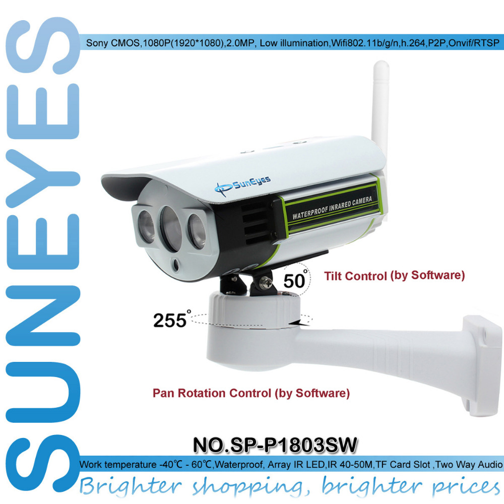 SunEyes SP-P1803SW 1080P Pan/Tilt IP Camera Outdoor Wireless Full HD with Micro SD Slot ONVIF suneyes sp v1809sw 1080p ptz ip camera outdoor wireless full hd pan tilt zoom with 2 8 12mm optical zoom and micro sd slot onvif
