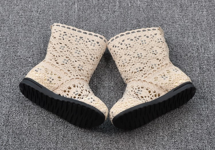 (A241)18 Classical Kids Shoes Summer Girls Boots Knitting Hollow Children Shoes Fashion Network Boots For Girls 5