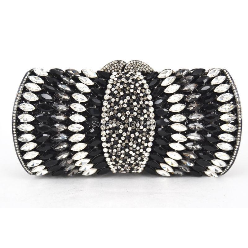 LaiSC Negro blanco Cristal Bolsos de Noche Embragues bolso De Las Mujeres Embrag