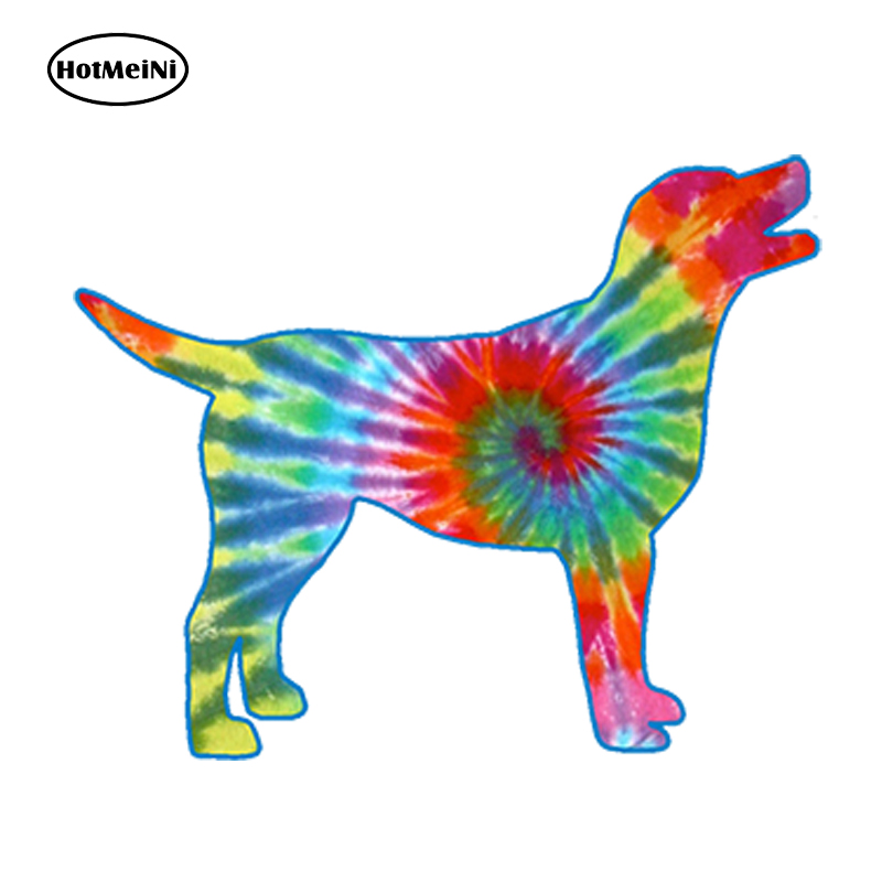HotMeiNi Car Sticker 3D Tie Dye Labrador Dog Car Styling Bumper Waterproof Windows Accessories Cup Tumbler 13x 10.4cm