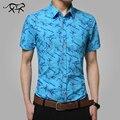 Camisas de los hombres 2017 Nueva Marca Turn-down Collar Slim Fit Para Hombre Chemise Homme Casual Summer beach floral Camisa de Manga Corta Impresa 5XL