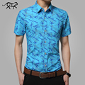 Men Shirts 2017 New Brand Turn-down Collar Slim Fit Mens Chemise Homme Casual Summer beach floral Shirt Short Sleeve Printed 5XL