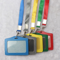 10pcs Neck Strap Lanyard Sling ID Badge Holders PU Name Card Case Certificate Horizontal Style With
