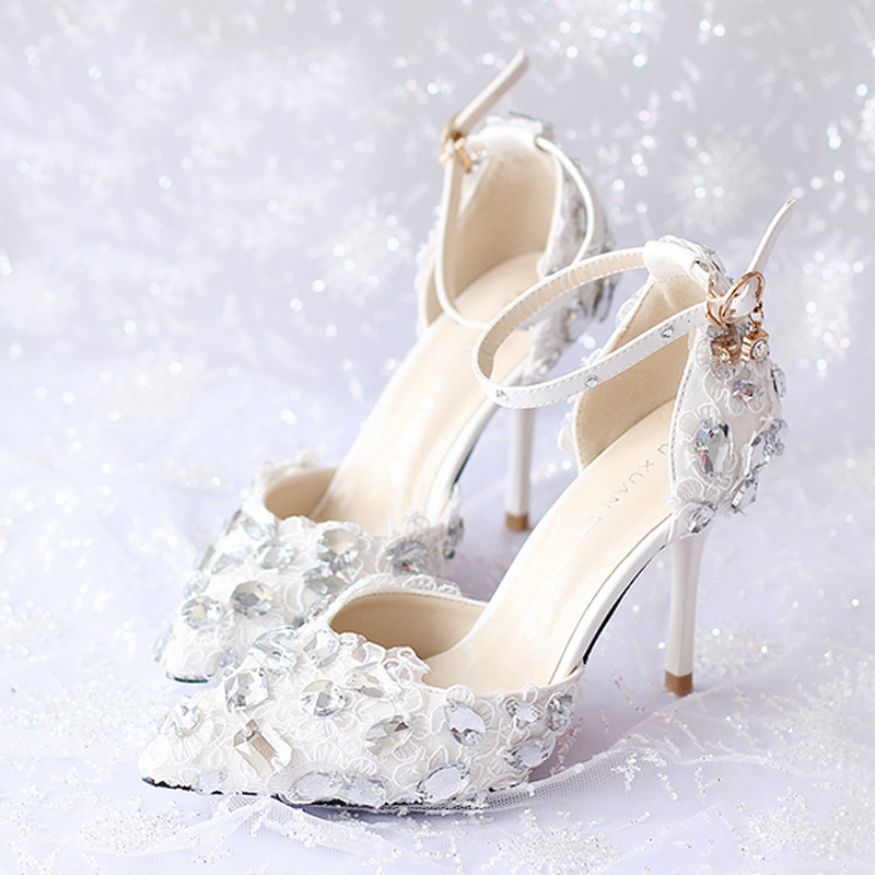 ФОТО Summer New Arrival Ankle Strap Lace Bridal Shoes White Thin Heels  Prom Evening Party Shoes Rhinestone Gorgeous Women High Heels
