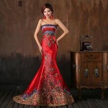 Perlen Kristall Langen Roten Abendkleid Trägerlosen Korsett Mermaid Satin Orientalischen Abendkleid
