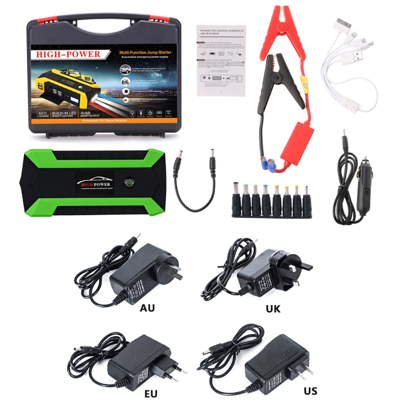 OOTDTY 600A US/UK/EU/AU Plug 89800mAh 4 USB Portable Car Jump Starter Pack Booster Charger Battery Power Bank ootdty 69900mah 89800mah 4 usb portable car jump starter pack booster charger battery power bank 600a