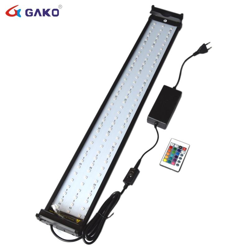 18 w 75-95 cm Changement de Couleur Aquarium Éclairage LED pour Fish Tank RGB LED avec Extensible Supports Dimmable télécommande
