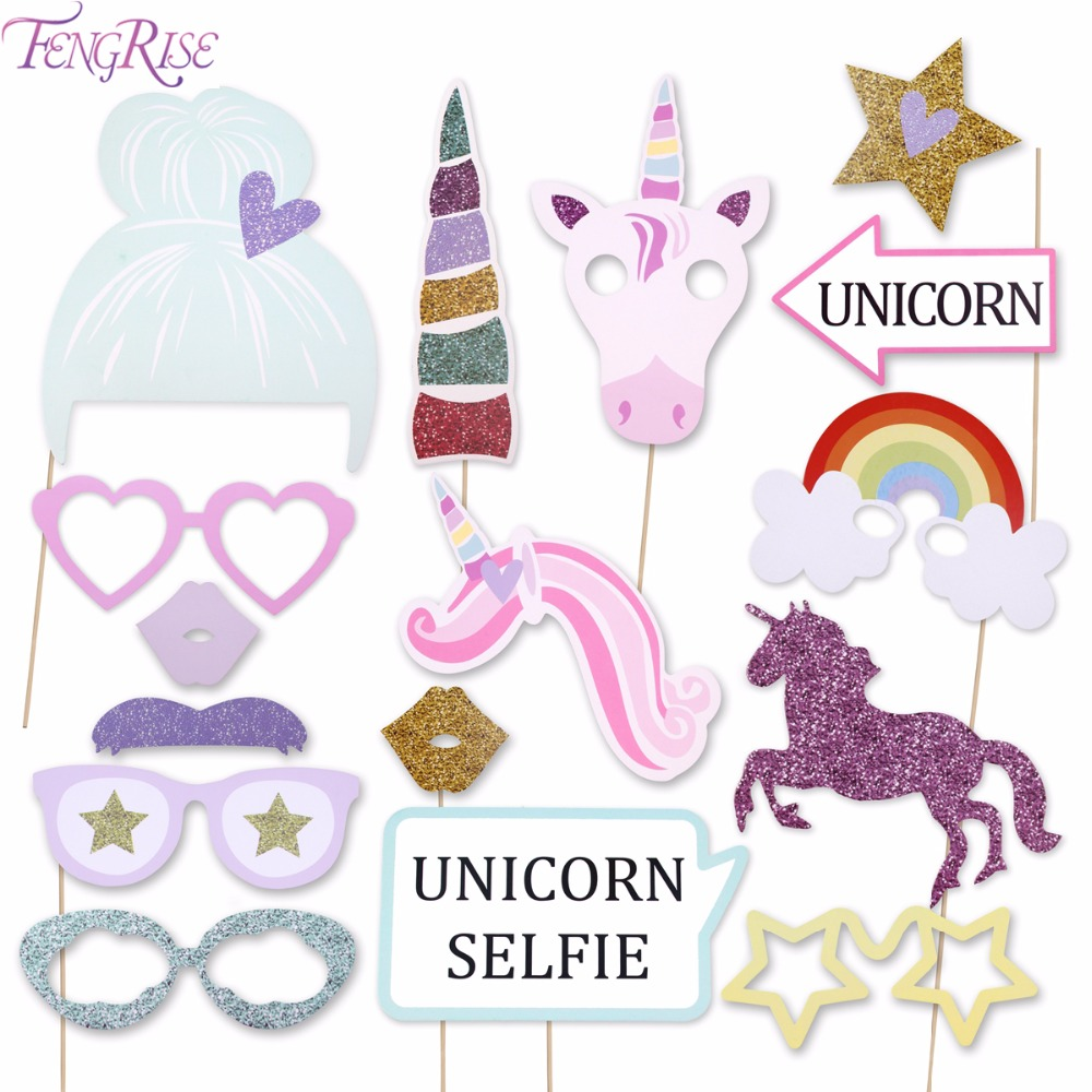 FENGRISE Unicorn Party Decorations Glitter Unicorn Photo Booth Props Happy Birthday Boy Girl font b Baby