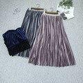 Falda plisada Retro Faldas de Invierno de Alta Calidad de Oro Brillante Otoño de Terciopelo Plisado Media Y Larga de La Cintura Elástico Libre