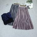 Pleated Skirt Retro Winter Skirts High Quality Gold Shiny Autumn Pleated Velvet Medium And Long Elastic Waist Free
