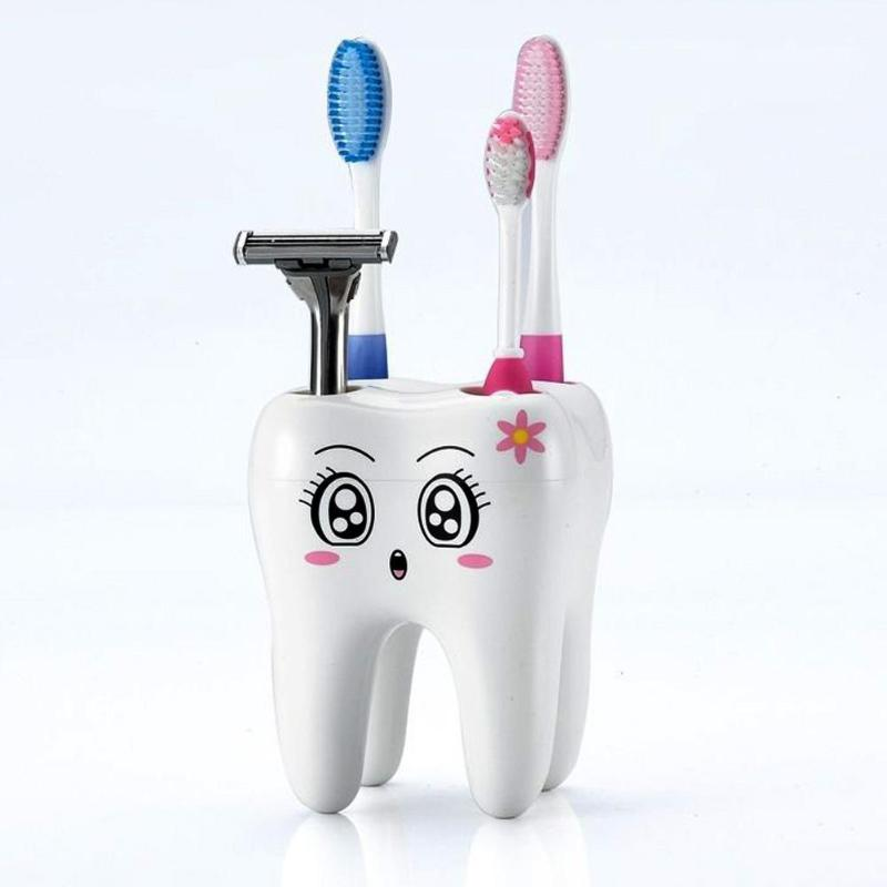 Durable 4 Holes Contaniner Storage PS Cute Tooth Shape Toothbrush Holder Cartoon